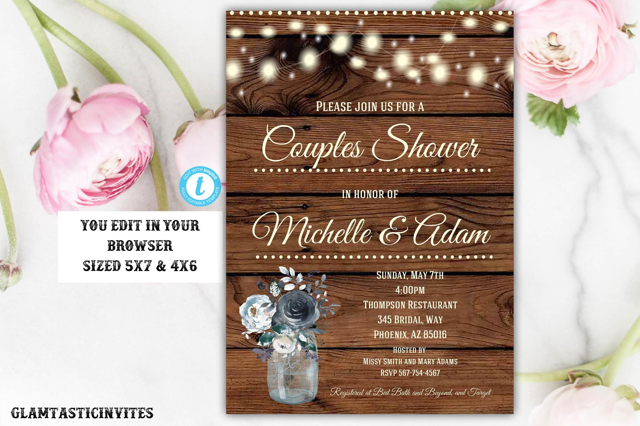 Rustic Couples Shower Invitation Template, Editable, Navy Blue Template, Flower Invitation, Couples Shower Invitation, Shower Template, DIY
