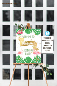 Flamingo Birthday Party Welcome Sign Template, Welcome Sign Template, Flamingo, Instant Download, Editable, Printable, Flamingo Template,DIY