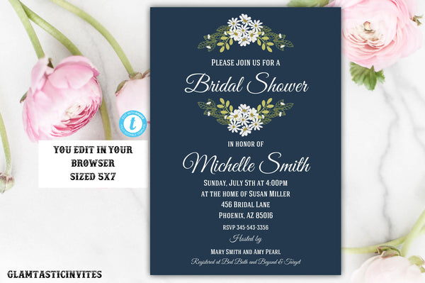 Bridal Shower Invitation, Navy Blue Bridal Shower Invitation, Floral Bridal Shower Invitation, Daisy Bridal Shower Invite, Instant Download