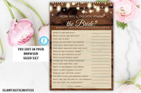 How Well Do you Know the Bride Game, Rustic How Well do you know the Bride Game, Rustic Bridal Shower Game, Bridal Shower Activity, Game