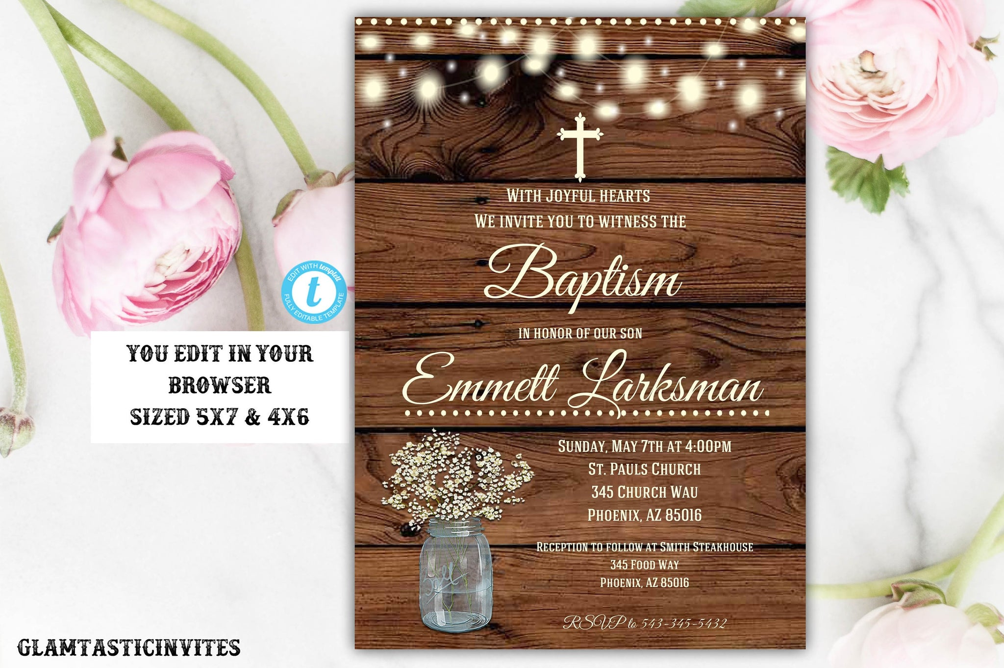 Rustic Baptism Invitation Boy, Baptism Invitation Printable, Boy Baptism Template, Printable Baptism Invitation, YOU EDIT, Instant Download