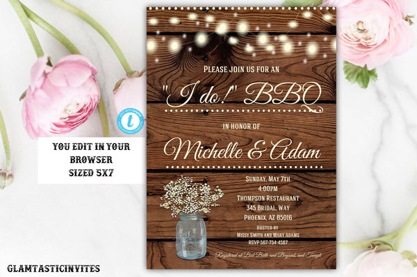I Do BBQ Couples Shower Invitation Template Instant Download Editable Printable Western Country Vintage DIY Wedding Shower Bridal BBQ Edit