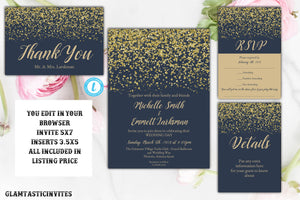 Navy Blue and Gold Wedding Invitation, Wedding Invitation Template, Elegant Wedding Invitation, Wedding Template Set, YOU EDIT, Navy, Gold