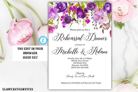 Rehearsal Dinner Invitation Template, YOU EDIT, Floral Rehearsal Dinner Invitation, Invitation Template, Editable, Editable Rehearsal Invite