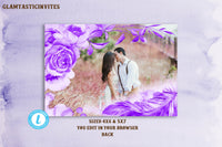 Save the Date Photo Card Template, Watercolor Floral Save the Date Template, Save Our Date, Printable, Boho, Rustic, Printable,Photo, Purple
