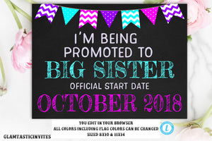 Pregnancy Announcement Template, Big Sister, Pregnancy Chalkboard, Pregnancy Sign, Going to be a Big Sister, Sister, Instant Download, DIY
