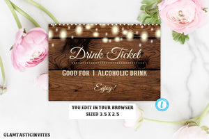 Drink Ticket Template, Rustic Drink ticket, Alcoholic Drink Ticket, Wedding Drink Ticket, Rustic Invitation, Template, Wedding Bar Ticket