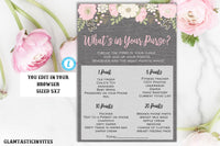 What's in your Purse Game Template, Floral Baby Shower Game, Rustic Baby Shower Game, Baby Shower Game, Template, Edit, Instant Download