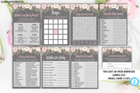 Floral Baby Shower Game Package Template, Rustic Baby Shower Game Package, Baby Shower Game Package, Template, Editable, Instant Download
