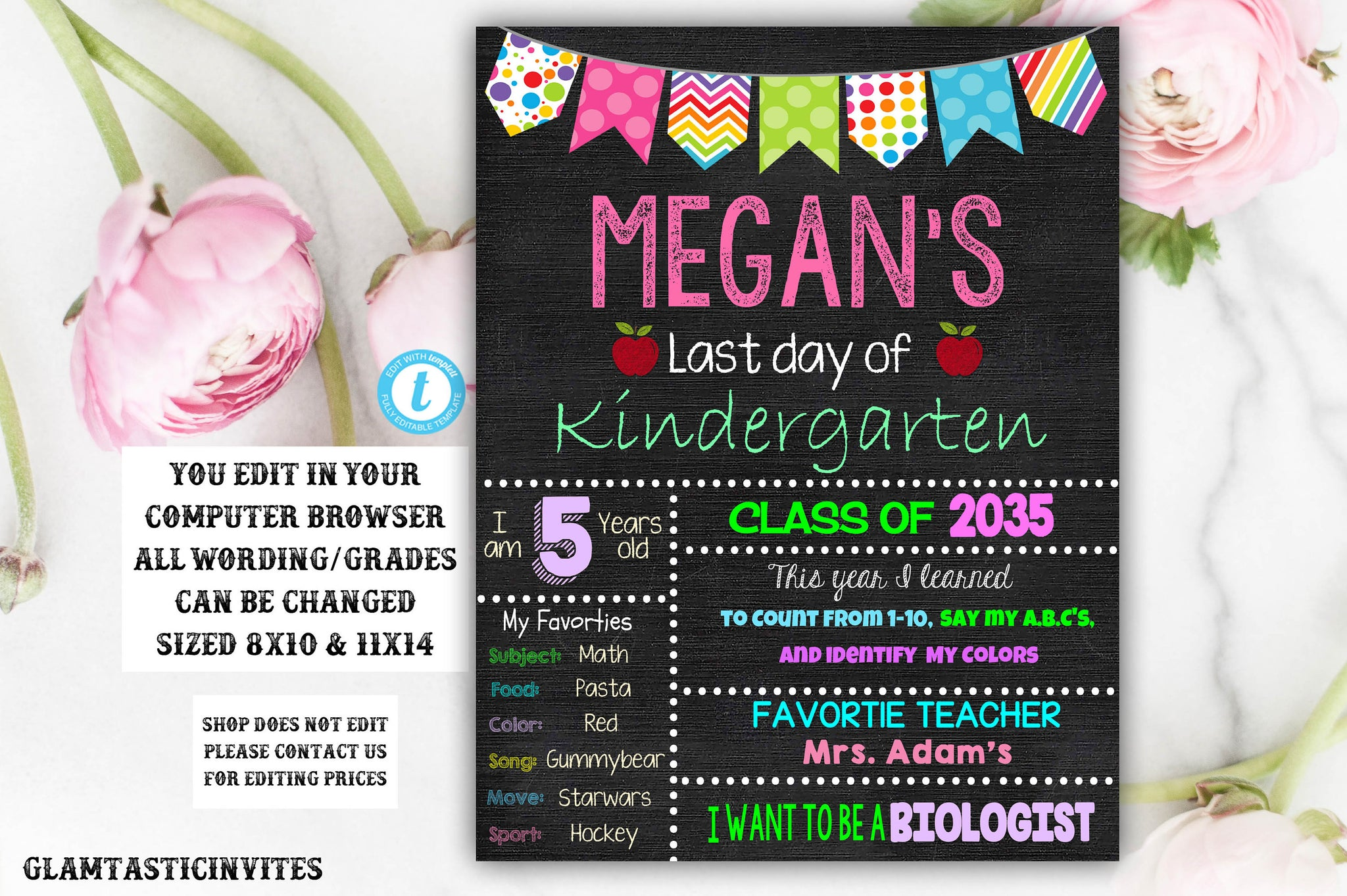 Last day of Kindergarten sign Template, Last day of school sign, Girls Kindergarten School Chalkboard poster, Last Day Template Chalkboard