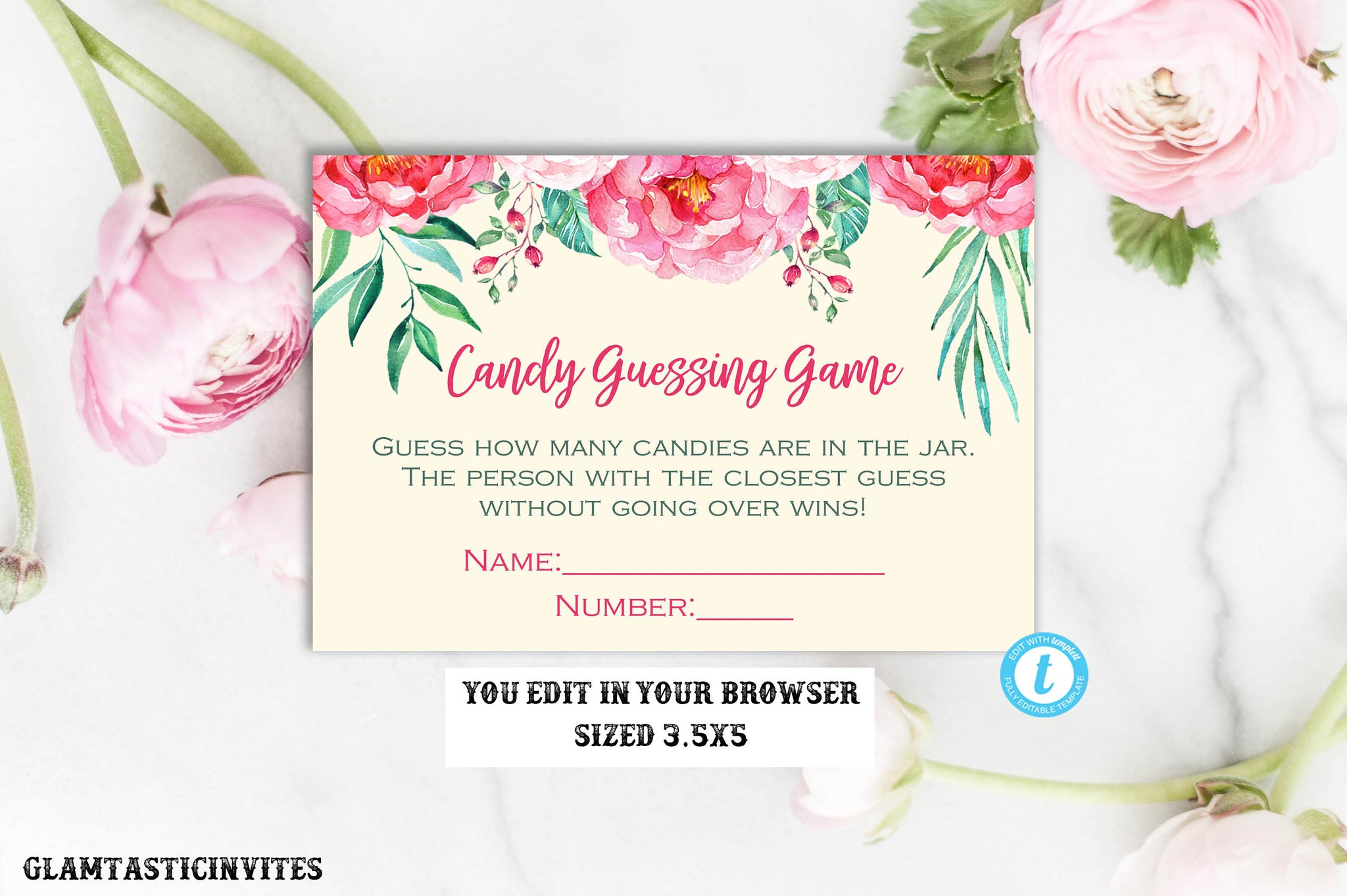 Floral Candy Guessing Game Template, Rustic Candy Guessing Game, Baby Shower Game, Floral Baby Shower,Baby Shower, Instant Download,Editable