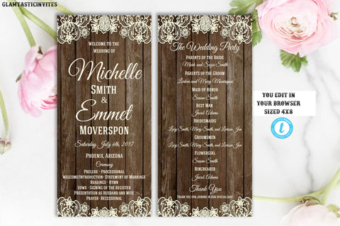 Wedding Programs Rustic, Online Wedding Programs Cheap, Wedding Program Templates, Instant Download, Wedding Program, DIY Wedding, Ceremony