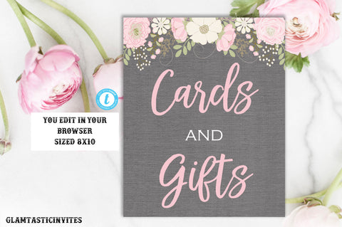 Cards and Gifts Sign Template, Template, Baby Shower Favors Sign, Cards and Gifts Template, Baby Shower Floral Sign, Instant Download, DIY