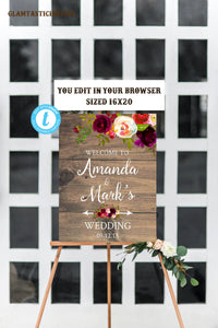 Rustic Boho Burgundy Marsala Wedding Welcome Sign Template, Editable, Printable, Instant Download, Burgundy, Marsala, Welcome Sign, DIY