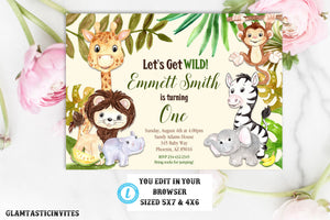 Zoo Birthday Invitation Template, Safari Birthday Invitation Template, Jungle Birthday Invitation Template, Zoo Birthday, Instant Download