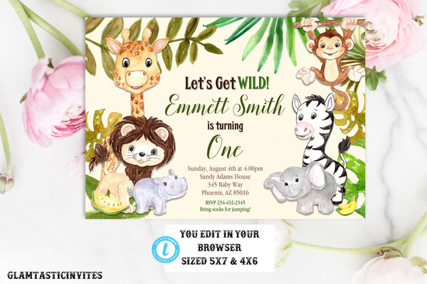 Zoo Birthday Invitation Template Safari Jungle