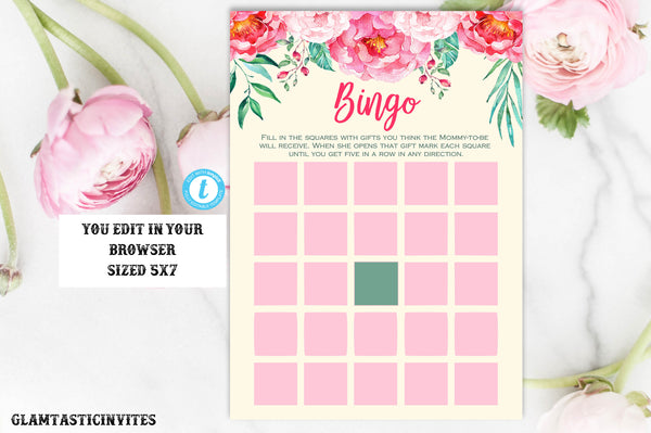 Pink Floral Baby Shower Bingo Template, Instant Download, Baby Shower Bingo, Floral Baby Shower, Rustic Baby Shower Bingo, Bingo Card, DIY