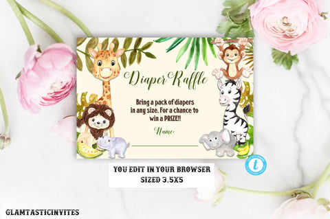 Baby Shower Diaper Raffle Template, Jungle Baby Shower, Jungle Invitation, Jungle Baby Shower Game, Diaper Raffle Template, Instant Download
