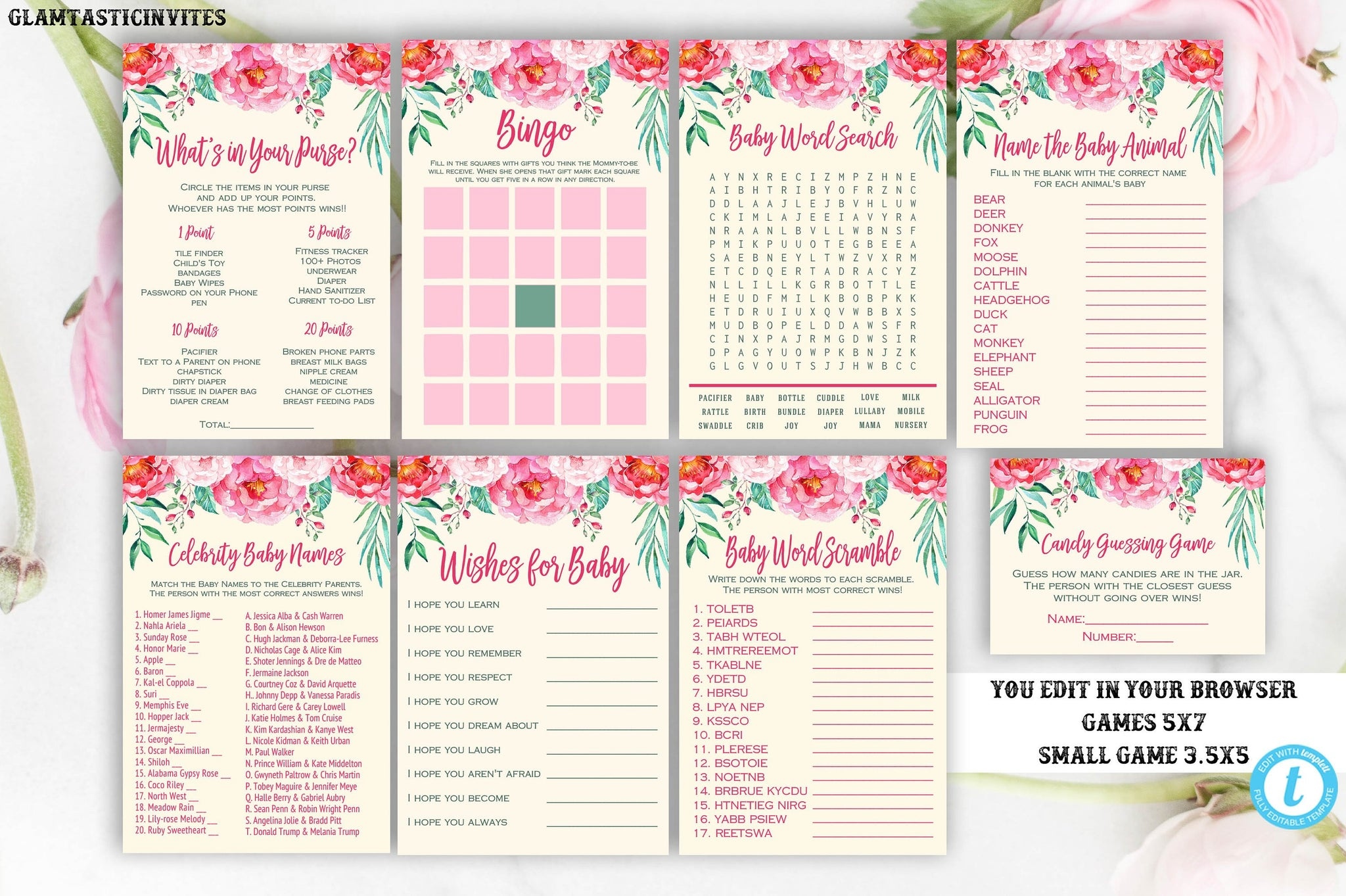Floral Baby Shower Game Package Template, Rustic Baby Shower Game Package, Baby Shower Game Package, Pink Baby Shower Game Package, Editable