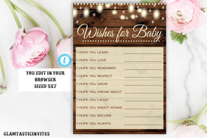 Wishes for Baby Template, Wishes for Baby Game, Instant Download, Rustic Baby Shower, Rustic Baby Shower Games, Template, Editable, DIY Baby