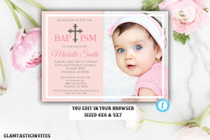 Baptism Invitation Girl, Baptism Invitation Printable, Girl Baptism Invitation, Printable Baptism Invitation, Baptism Template, YOU EDIT