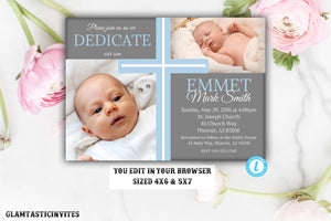 Dedication Invitation Boy, Dedication Invitation Template, Boy Dedication Invitation, Printable Dedication Invitation, INSTANT DOWNLOAD, DIY