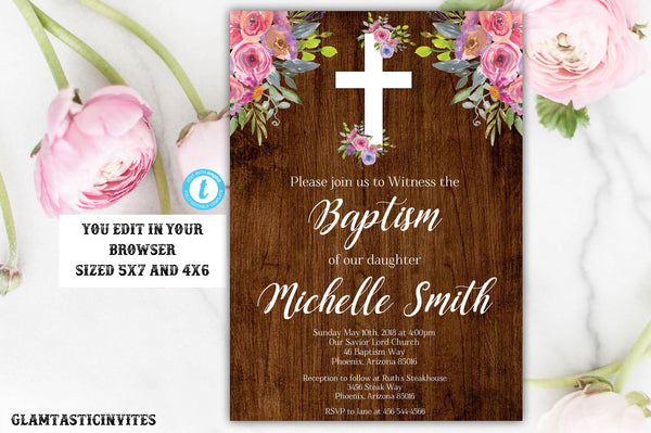 Rustic Baptism Invitation Girl, Baptism Invitation Printable, Girl Baptism Template, Printable Baptism Invitation, YOU EDIT,Instant Download