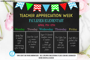 Teacher Appreciation Chalkboard Sign Template, Template, Printable, Editable, Teacher Appreciation Week Schedule, Week Schedule Template