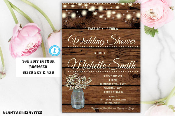 Rustic Wedding Shower Invitation, Rustic Invitation, Country invitation, Editable Template, Wedding Shower Invitation, Template, YOU EDIT