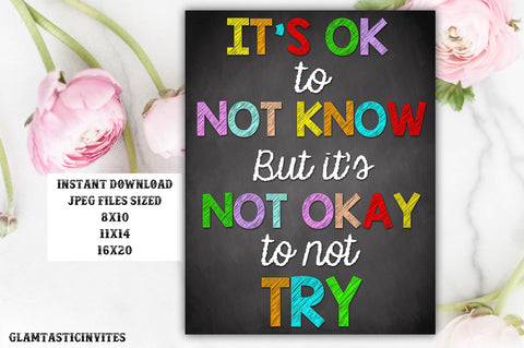 Classroom Decor, Teacher Decor, It's ok to not know, It's not okay to not TRY, Teacher Gift, Educational Decor, Classroom Decoration, School