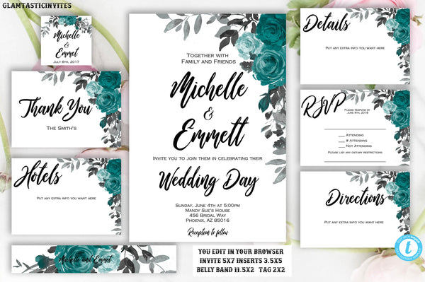 Teal Grey Floral Wedding Invitation Template, Printable, Template, Instant Download, DIY Wedding, Wedding Template, Boho, Script, Editable