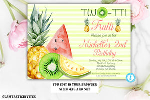 Fruit Birthday Invitation Template, Two-tti Frutti Birthday Invitation Template, Two-tti Frutti, Twotti Frutti, Instant Download, Editable
