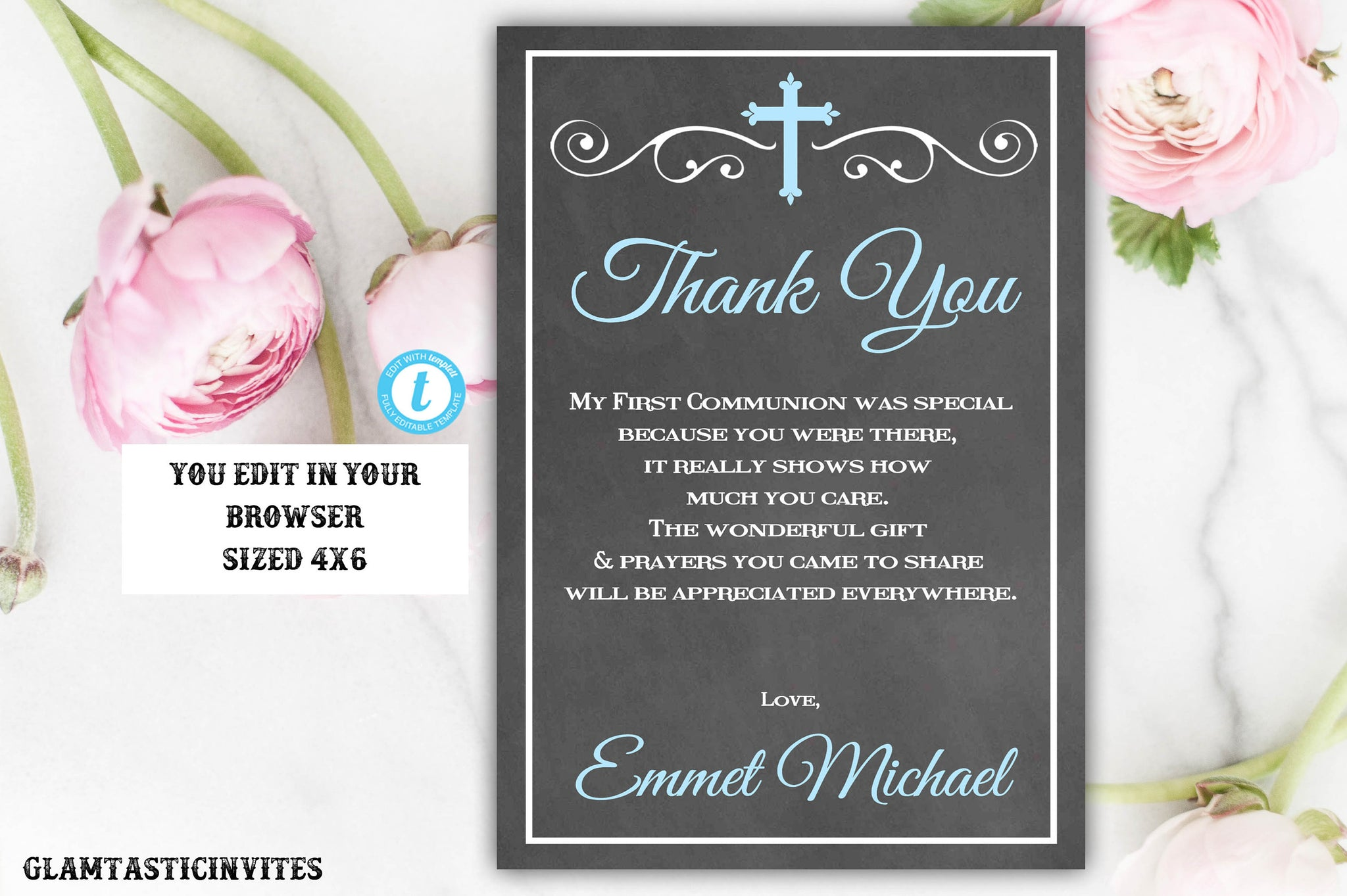 First Communion Thank You Boy, Boy First Communion Thank You, First Communion Thank You Printable, First Communion Boy, INSTANT DOWNLOAD