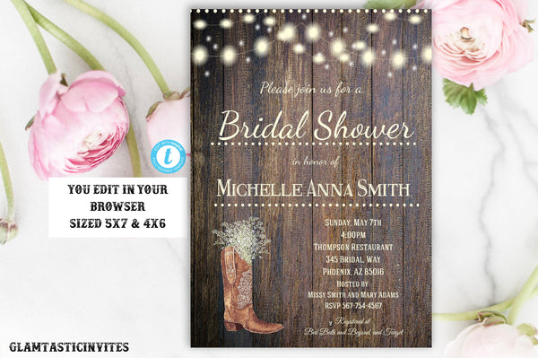 Rustic Country Vintage Boot Babies Breath Bridal Shower Invitation Template, Printable Rustic Bridal Shower Template, Instant Download, DIY