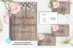Blush Pink Wedding Invitation Template, Blush Wedding Invitation, Rustic Wedding Invitation Template, Editable, Postcard RSVP, Template, DIY