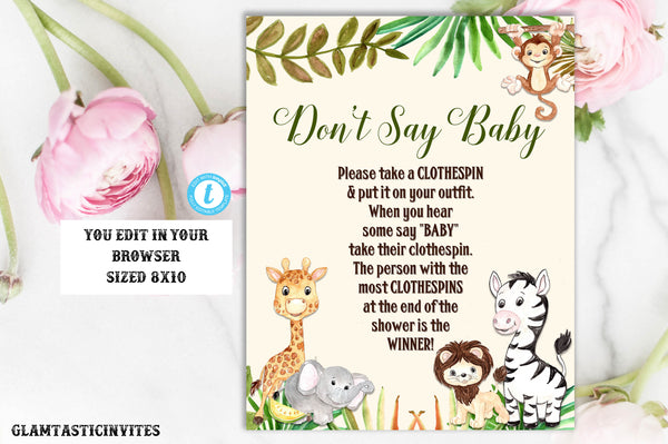 picture relating to Don T Say Baby Printable known as Dont Say Kid Indicator Template, Jungle Little one Shower Indicator, Printable, Editable, Jungle Dont Say Little one Signal, Prompt Obtain