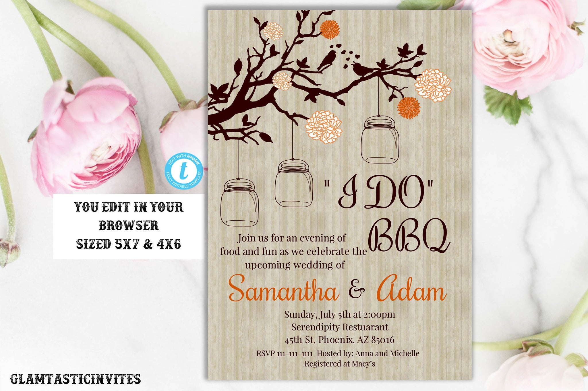 Rustic Vintage Western Country Mason Jar Orange Instant Download Editable Printable I DO BBQ Invitation Template, Rustic I do BBQ Invitation