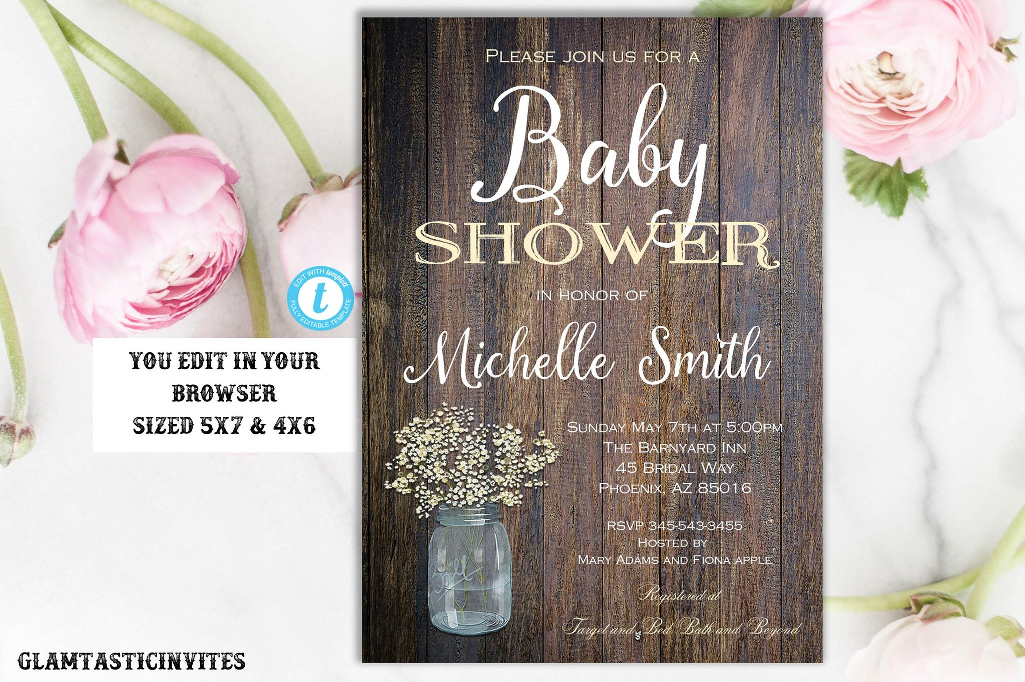 RUSTIC BABY SHOWER Invitation Template, Flower Baby Shower Invitation, Printable, Template,Baby Template, Editable, Instant Download, Rustic
