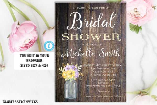Rustic Bridal Shower Invitation Template, Instant Download, Editable, Printable, Template, Bridal Shower Invitation, INSTANT DOWNLOAD, DIY