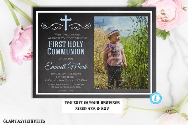 First Communion Invitation Boy, Boy First Communion TEMPLATE, First Communion Invitation Printable, First Communion Boy, INSTANT DOWNLOAD