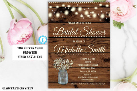 Rustic Bridal Shower Invitation, Rustic Invitation, Country invitation, Flower Invitation, Bridal Shower Invitation, Template, YOU EDIT, DIY