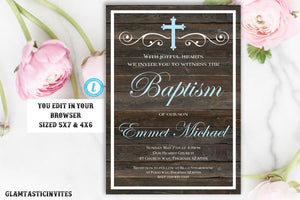 Baptism Invitation Boy, Baptism Invitation Printable, Boy Baptism Invitation, Printable Baptism Invitation, Invite Boy, INSTANT DOWNLOAD