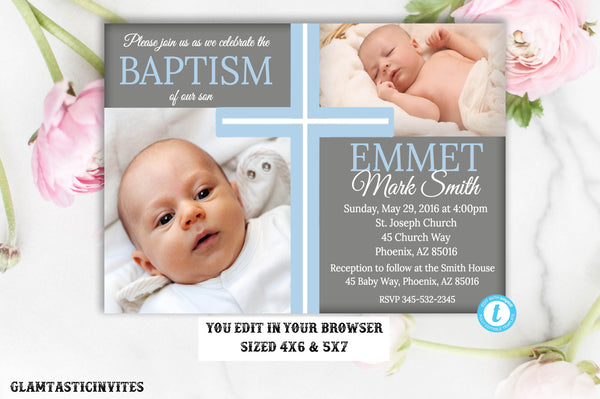 Baptism Invitation TEMPLATE, Baptism Invitation Printable, Boy Baptism Invitation, DIY, Printable Baptism Invitation, INSTANT Download