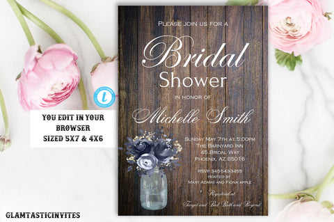 Rustic Floral Bridal Shower Invitation Template, Printable Rustic Bridal Shower Template, Dusty Blue Bridal Shower Invite, Instant Download