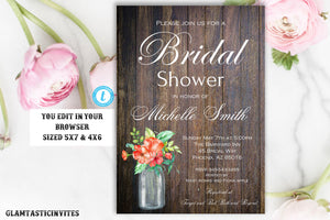 Rustic Bridal Shower Invitation, Rustic Invitation, Mason Jar invitation, Flower Invitation, Bridal Shower Invitation, INSTANT DOWNLOAD