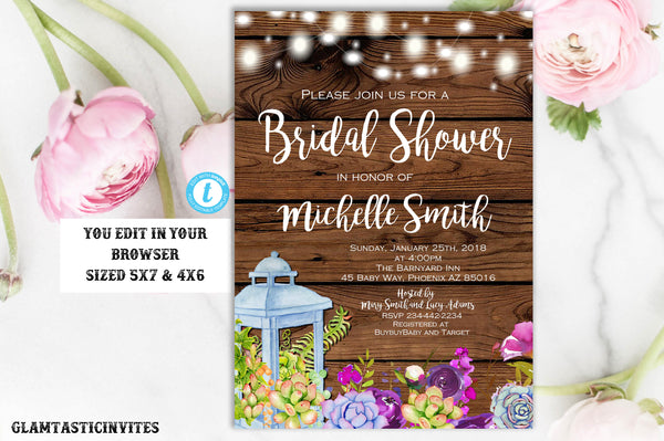 Bridal Shower Invitation Template, Shower Template, Succulent Shower Invite, Rustic Bridal Shower Template, Template, Succulent, You Edit