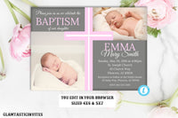 Baptism Invitaiton Girl, Christening Invitation, Girl Communion Invitation, Cross Invite, Baby Dedication, Religious Invite, Printable Card
