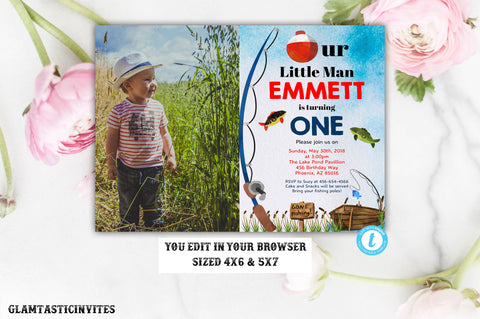 Fishing Birthday Invitation Template, Boy Birthday Invitation, Fishing Invitation, Fishing Template, Instant Download, Gone Fishing Invite