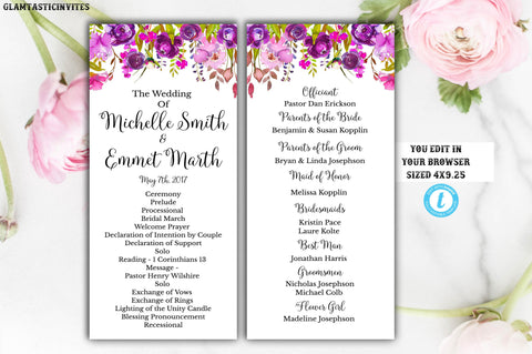 Wedding Program Template, INSTANT DOWNLOAD, You Edit, Ceremony Program Template, Wedding Program, Wedding Template, DIY, Kraft Program