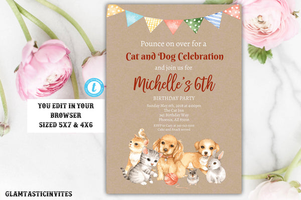 Cat And Dog Themed Birthday Party Template Invitation Instant Download Editable